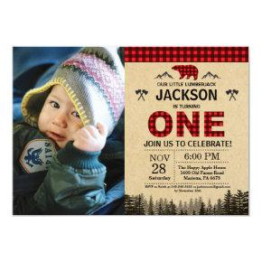 Lumberjack 1st Birthday Invitation Bear Woodland