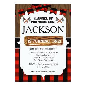 Lumberjack 1st Birthday Party Invitations