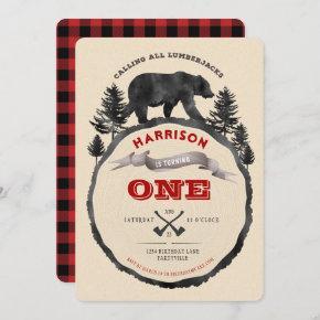 Lumberjack Bear Birthday Invitation