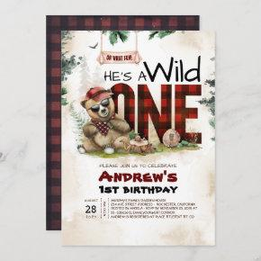 Lumberjack Bear First Birthday Party Invitation
