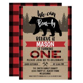 Lumberjack Bear-ly Believe 1st Birthday Invitation