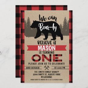 Lumberjack Bear-ly Believe 1st Birthday Invitation