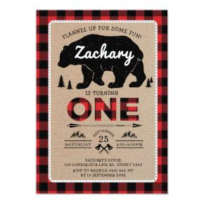 Lumberjack Bear Tartan 1st Birthday Woodland Party Invitation