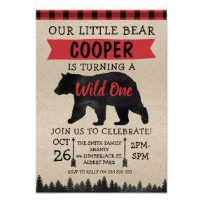 Lumberjack Bear Wild Birthday Party Invitation