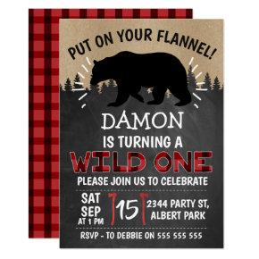 Lumberjack Bear Wild One 1st Birthday Invitation