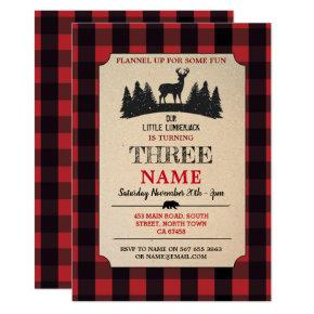 Lumberjack Birthday ANY AGE Red Flannel Invite