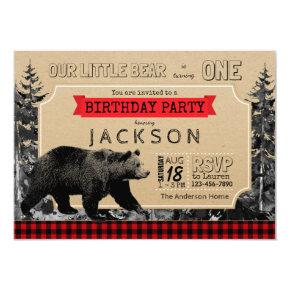 Lumberjack Birthday Buffalo Plaid Little Bear Invitation