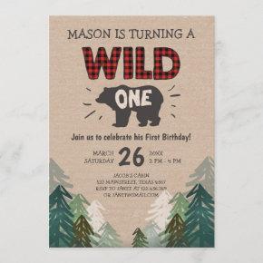 Lumberjack Birthday Invitation Wild One Forest