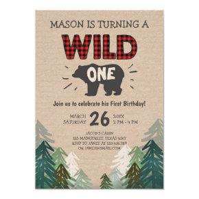Lumberjack Birthday Invitation Wild One Forest