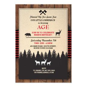 Lumberjack Birthday Invite ANY AGE Red Invite
