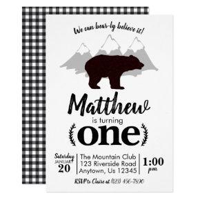 Lumberjack Boy Bear First Birthday Invitation