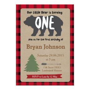 Lumberjack Boy First Birthday Invitations