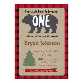 Lumberjack Boy First Birthday Invitation