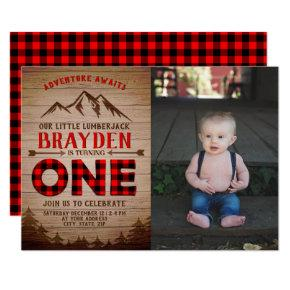 Lumberjack Buffalo Plaid Boys First Birthday Photo Invitation