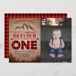 Lumberjack Buffalo Plaid Boys First Birthday Photo Invitation