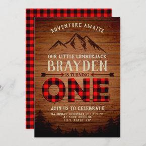 Lumberjack Buffalo Plaid First Birthday Invitation