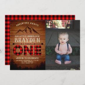 Lumberjack Buffalo Plaid First Birthday Photo Invitation