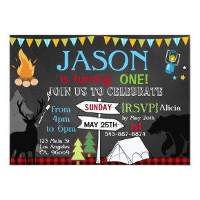 Lumberjack Camping first birthday party invitation
