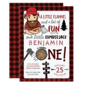 Lumberjack First Birthday Invitation, 1st Invite