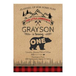 Lumberjack First Birthday Invitations - Bear
