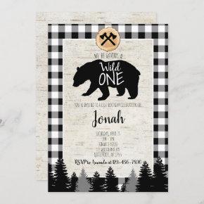 Lumberjack First Birthday Invitation Buffalo Plaid