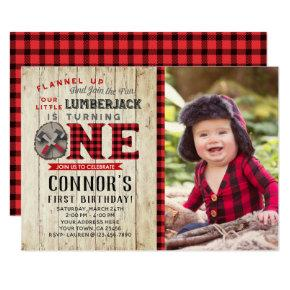 Lumberjack First Birthday Invitations with Photo