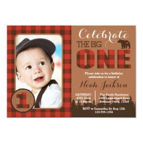 Lumberjack First Birthday Party Invitation