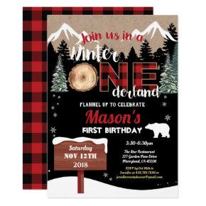 Lumberjack first birthday winter Onederland bear Invitation