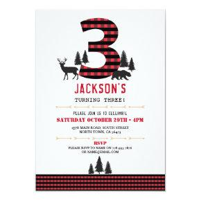 Lumberjack Flannel 3rd 3 Birthday Party Invitation