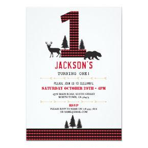 Lumberjack Flannel First One Birthday Party Invite