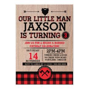 Lumberjack kids birthday, plaid rustic little man card