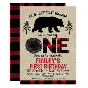 Lumberjack little Bear 1st Birthday Invitation