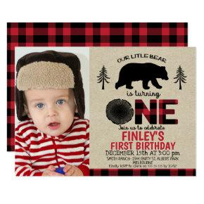 Lumberjack little Bear Photo 1st Birthday Invite