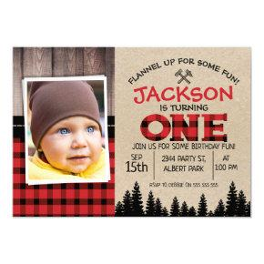 Lumberjack Photo 1st Birthday Invitations