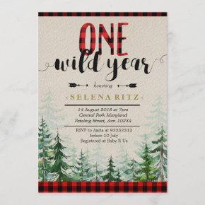Lumberjack Red Plaid Boy First Birthday Invitation