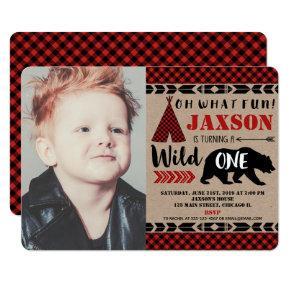 Lumberjack wild one 1st birthday boy photo invitation