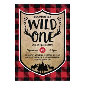 Lumberjack Wild One Boys 1st Birthday Party Invitation