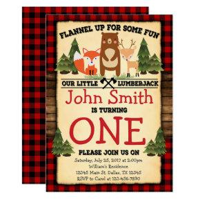 Lumberjack Woodland Birthday Party Invitations