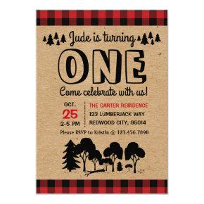 Lumberjack Woodland Boy First Birthday Invitations