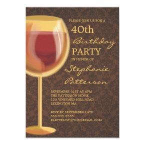 Luminous Wine Themed Milestone Birthday Invitations