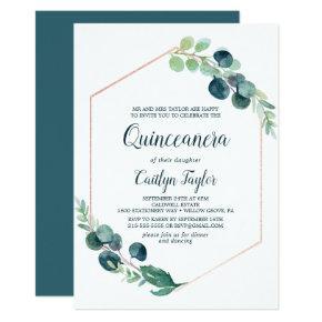 Lush Greenery Rose Gold Geometric Quinceañera Invitation