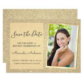 Luxury Gold Glitter Sweet 16 Save the Date Invitation