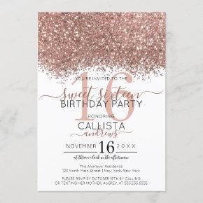 Luxury Rose Gold White Glitter Confetti Sweet 16 Invitation
