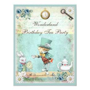 Mad Hatter Wonderland Birthday Tea Party Invitation