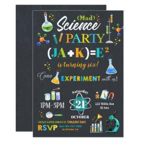 Mad Science Party Birthday Invitation Boy