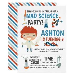 Mad Science Party Birthday Invitation For Kids