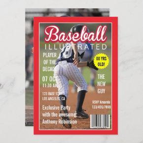 Magazine Celebrity Baseball Birthday Party photo Invitation