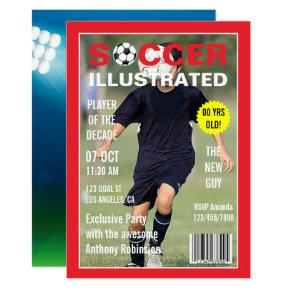 Magazine Celebrity Soccer Birthday Party photo Invitations