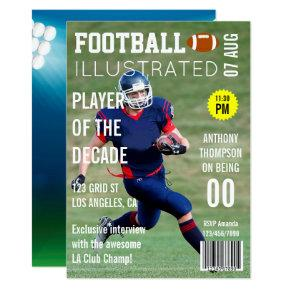 Magazine Cover Celebrity Footballer Birthday Party Invitations