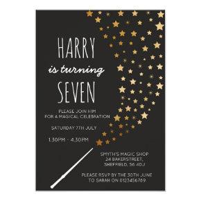 Magic themed birthday party invitation